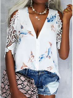 Floral Print Cold Shoulder 1/2 Sleeves Casual Shirt Blouses