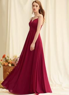 A-linje V-hals Gulvlængde Chiffon Chiffon Mode kjoler med Flæsekanter