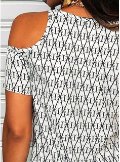Geometrisk Kjole med A-linje Kold-skulder ærmer Mini Casual Ferie Mode kjoler