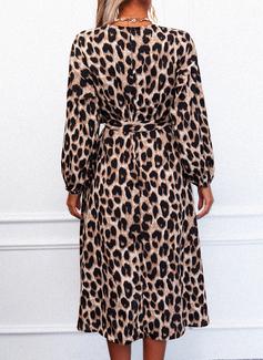 leopardo Abiti Linea A Maniche lunghe Midi Casuale pattinatore Coprispalle Vestiti di moda