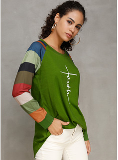 Impresión Trozos de color Manga larga Algodón poliéster Cuello redondo camiseta Blusas
