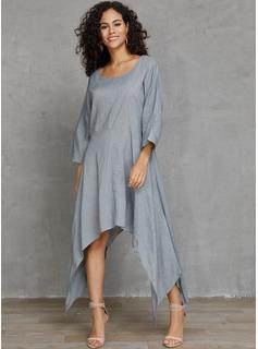 Asimétrico Cuello redondo Lino Sólido Mangas 3/4 Vestidos de moda