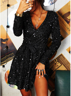 Sequins Solid A-line Long Sleeves Mini Party Skater Wrap Dresses