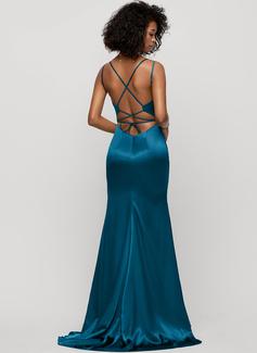 Trumpet/Mermaid V-neck Sweep Train silk like satin Evening Dress