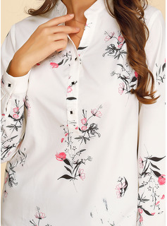 Impresión Floral Manga larga poliéster Escote en V Camisas Blusas Blusas
