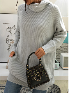 Turtleneck Casual Long Solid Chunky knit Sweaters