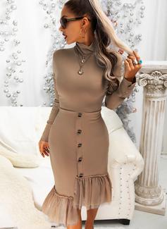 Solid Skede Lange ærmer Midi Casual Mode kjoler
