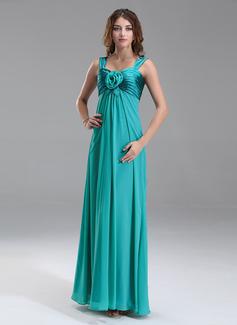 Empire Sweetheart Floor-Length Chiffon Charmeuse Maternity Bridesmaid Dress With Ruffle Flower(s)