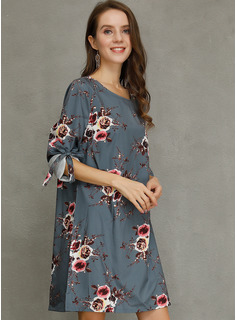 Blomster Print Skiftekjoler 1/2 ærmer Mini Casual Tunika Mode kjoler