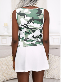 Impresión Camuflaje Vestido línea A Sin mangas Mini Casual Patinador Vestidos de moda