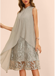 Embroidery Solid Shift Sleeveless Midi Casual Elegant Dresses