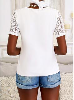 Solid V-Neck Short Sleeves Elegant