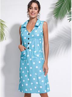 knælange V-hals Polyester/Bomuld Button/Polka prik Uden Ærmer Mode kjoler