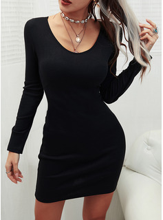 Lace Solid Beaded Bodycon Long Sleeves Mini Little Black Party Elegant Dresses