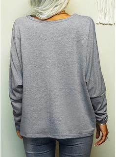 Figure Print Heart V-Neck Long Sleeves Casual T-shirt
