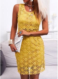 Blonder Solid Bodycon Ærmeløs Midi Casual Elegant Mode kjoler