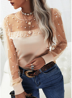 Beaded Solid Round Neck Long Sleeves Elegant Blouses