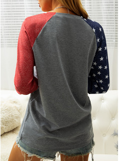 Color Block Print Rund hals Lange ærmer Sweatshirts