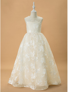Ball-Gown/Princess Sweep Train Flower Girl Dress - Tulle/Lace Sleeveless Scoop Neck With Bow(s)