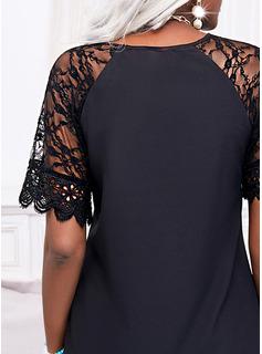 Couleur Unie Coupe droite Manches 1/2 Mini Petites Robes Noires Élégante Tunique Robes tendance