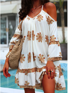 フローラル 印刷 シフトドレス コールドショルダースリーブ 長袖 ミニ カジュアル 休暇 チュニック ファッションドレス