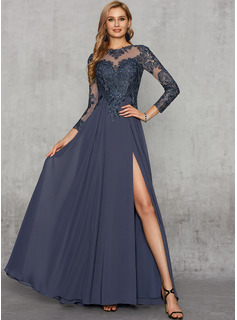 A-Line Scoop Neck Floor-Length Chiffon Lace Evening Dress With Lace Sequins