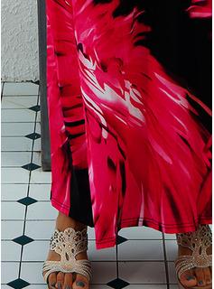 Print A-linjeklänning Ärmlös Maxi Fritids Semester Typ Modeklänningar