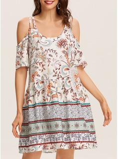 Blumen Druck Etuikleider Kalte Schulter Ärmel Kurze Ärmel Mini Lässige Kleidung Urlaub Modekleider