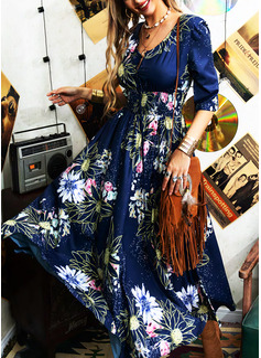 Kwiatowy Nadruk Sukienka Trapezowa Rękawy 1/2 Maxi Elegancki Łyżwiaż Modne Suknie