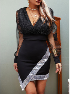 Sequins Solid Sheath Long Sleeves Mini Party Casual Dresses