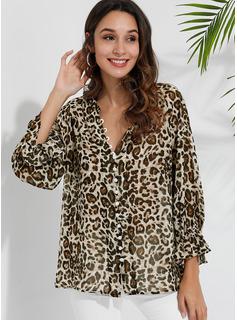 leopardo Scollatura a V 3/4 maniche Manica a lanterna Casuale