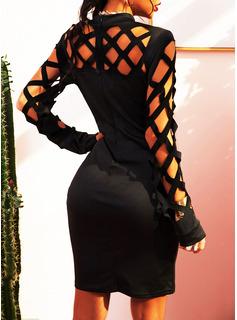 Pevný Přiléhavé Dlouhé rukávy Mini Party Sexy Módní šaty