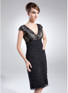 Sheath/Column V-neck Knee-Length Chiffon Lace Cocktail Dress With Ruffle