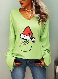印刷 Vネック 長袖 クリスマス Tシャツ