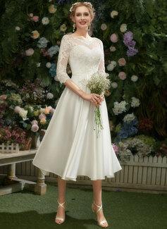 Illusion Tea-Length Wedding Dress With Lace