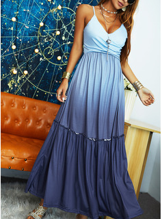 Tie Dye A-line Sleeveless Maxi Casual Vacation Skater Type Dresses