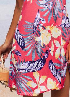Floral Estampado Bainha Sem mangas Mini Casual Vestidos na Moda