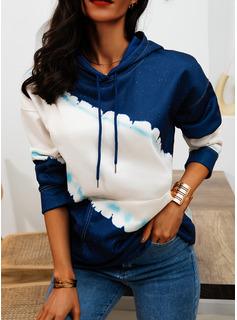 Color Block Hoodie Long Sleeves Casual Blouses