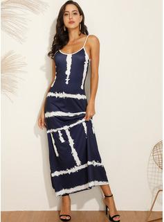 Print A-linjeklänning Ärmlös Maxi Fritids Typ Modeklänningar