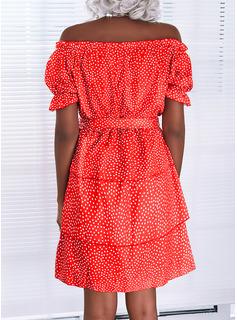 Lunares Impresión Vestido línea A Manga Corta Mini Casual Patinador Vestidos de moda