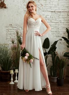 A-Line V-neck Floor-Length Wedding Dress With Split Front