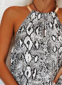 Impresión Vestidos sueltos Sin mangas Maxi Casual Vacaciones Vestidos de moda