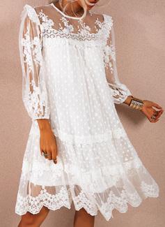 Spets Solid Shiftklänningar 3/4 ärmar Mini Elegant Tunika Modeklänningar
