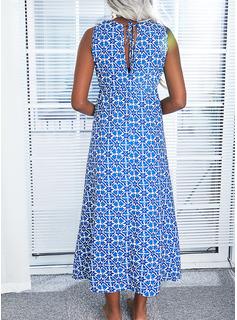 Impresión Vestido línea A Sin mangas Maxi Casual Vacaciones Patinador Tipo Vestidos de moda