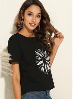 印刷 ラウンドネック 半袖 カジュアル Tシャツ