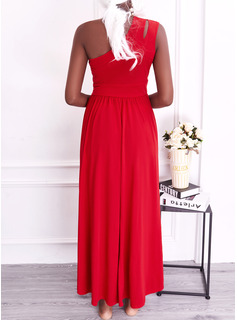 Solid A-line Sleeveless Maxi Party Elegant Skater Dresses