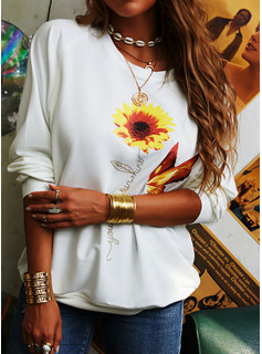 Sunflower Print Animal Print Round Neck Long Sleeves Casual T-shirt