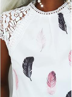 Impresión Cuello Redondo Manga Corta Casual Elegante Blusas