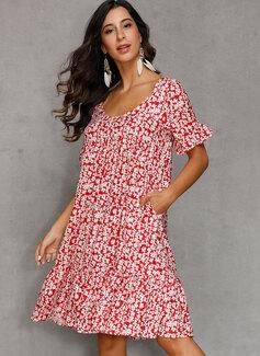 knælange V-hals Bomuldsblanding Print 1/2 Ærmer Mode kjoler