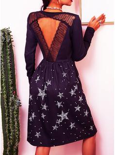 レース 印刷 シフトドレス 長袖 ミディ カジュアル チュニック ファッションドレス